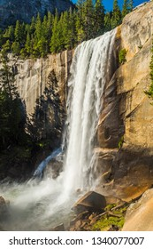Beautiful Vernal Falls is located on Merced river. Yosemite National Park, California, USA.