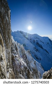 beautiful vertical scenery view of europe alps landscape from the aiguille du midi chamonix france