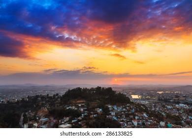 Beautiful vibrant cityscape of Antananarivo, Madagascar, at sunset