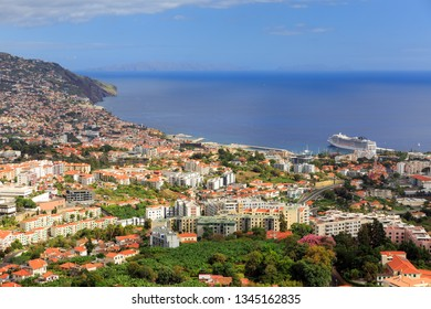 Beautiful vibrant cityscape view of the skyline of the city Funchal on the island Madeira in summer