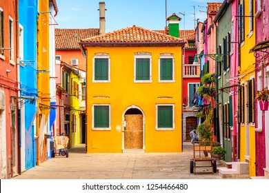 Beautiful vibrant colorful houses in Burano, near Venice in Italy.