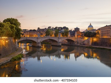 Beautiful Vibrant Night image Panorama of St. Peter's Basilica, Ponte Sant Angelo and Tiber River at Dusk in Summer. Reflection of The Papal Basilica of St. Peter in the Vatican City, Rome, Italy