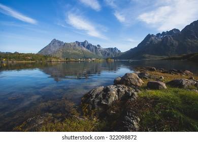 Beautiful Vibrant Norwegian Mountain Landscape with fjord, lake, mountain, Lofoten Islands, Norway, Norge