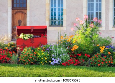Beautiful vibrant summer flowers in the afternoon sun in the city of Nevers, France