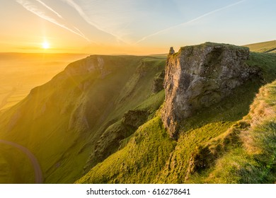 Beautiful vibrant sunrise on a spring morning at Winnats Pass in the English Peak District.
