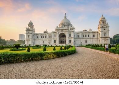 Beautiful Victoria Memorial Kolkata at sunrise with adjoining compound.