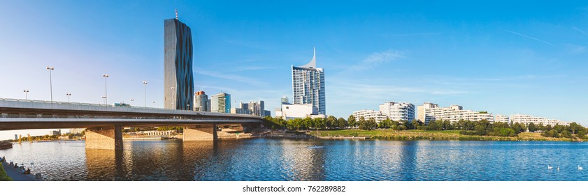 Beautiful Vienna skyline panorama on the Danube river