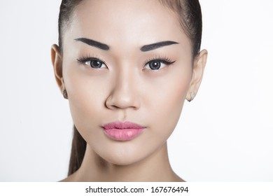 Beautiful Vietnamese girl closeup on face