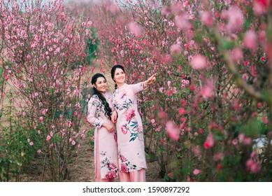 Beautiful Vietnamese girls with traditional dress (ao dai) is in peach flower garden in Hanoi, Vietnam