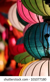 Beautiful vietnamese lanterns at night in Hoi An, Vietnam. lantern is one of the most popular souvenir in Hoi An