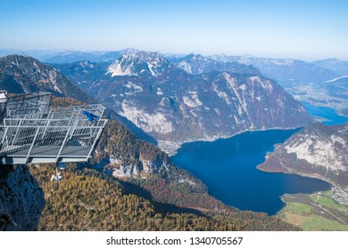 Beautiful view of the 5 Fingers platform and Hallstätter See (Hallstatt Lake) from  Mount Krippenstein - Obertraun, Austria