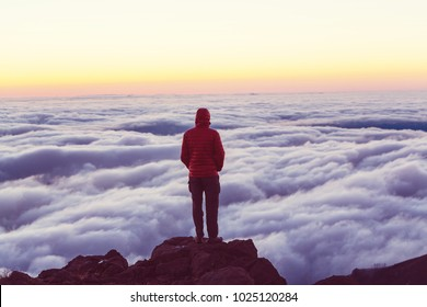 Beautiful view above clouds in mountains