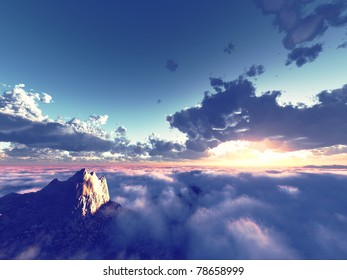beautiful view above cloudscape and mountains