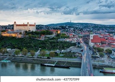 A beautiful view from above at the evening of Bratislava