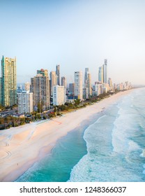 Beautiful view above the Gold Coast in Queensland, Australia. Amazing aerial view of skyline on beach with nice sky and high buildings. Broadbeach, Southport, Surfers Paradise, Miami