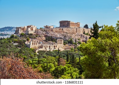 Beautiful view of the  Acropolis of Athens. The main attraction of the city.