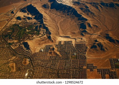 Beautiful view, aerial view from airplane, Las vegas, Nevada, USA