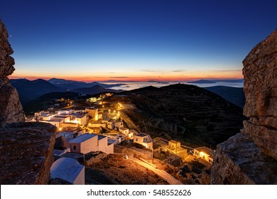 Beautiful view after sunset from the castle of Chora, in Amorgos island, Greece