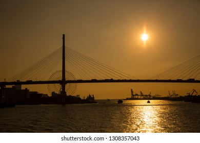 Beautiful view at Aji River with Tempozan Giant Ferris Wheel at the background in Osaka Japan.