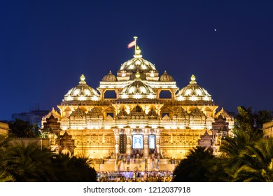 Beautiful View of Akshardham temple at night in New Delhi, India