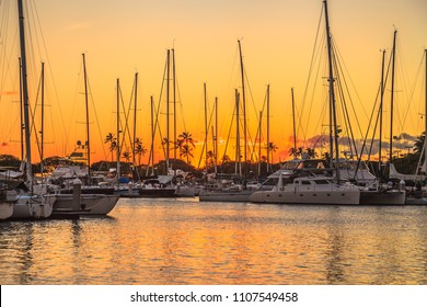 Beautiful view of Ala Wai Harbor at sunset. Ala Wai Harbor is the largest small-boat and yacht harbor in Hawaii, situated between Waikiki and Honolulu downtown. Oahu in Hawaii, United States.