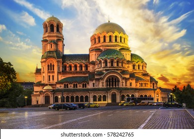 A beautiful view of the Alexander Nevsky Cathedral in Sofia, Bulgaria on a sunset