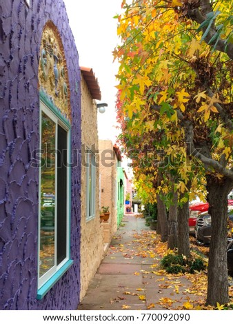 beautiful view of alley with colorful house and autumn tree capitola santa cruz