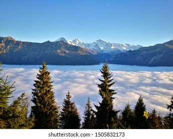 Beautiful view of Alps and cloudscape from Harder Kulm, Interlaken Switzerland.
