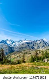 Beautiful view of Alps Mountains in Zermatt, Switzerland