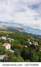 Beautiful view of Alupka village and the top of AI-Petri mountain. Yalta, Crimea, Russia