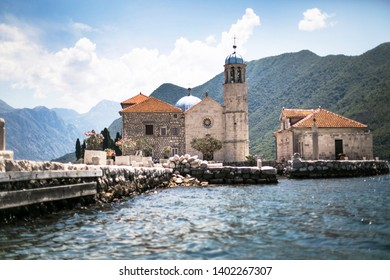 Beautiful View ancient city of Perast, Montenegro. Island of Saint George in the Bay of Kotor.