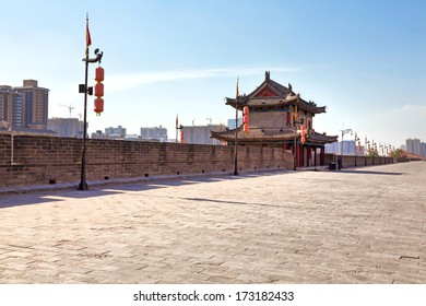 Beautiful view of ancient city wall of Xian, China