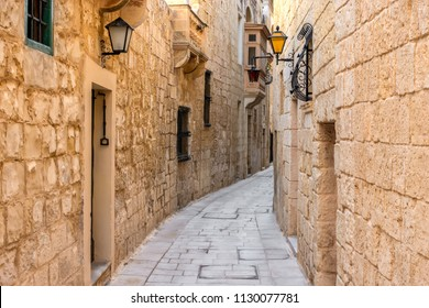 beautiful view of ancient narrow medieval street town Mdina, Malta