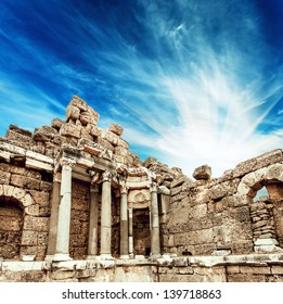 Beautiful view of ancient ruins in Side, Turkey