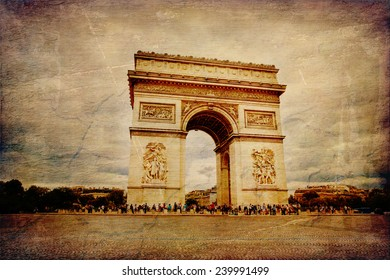 Beautiful view of the Arc de Triomphe in Paris in vintage style, France