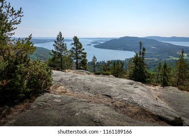 Beautiful view of archipelago, mountains, forest and sea. Skule mountain, high coast in northern Sweden.