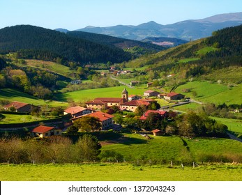 Beautiful view of Arrazola village in Atxondo, Basque Country