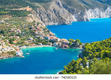 Beautiful view of Assos Village from Castle of Assos - Kefalonia Island - Greece