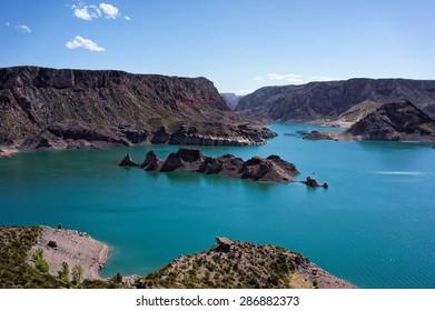 Beautiful view of Atuel Lake in Summer, San Rafael, Mendoza, Argentina