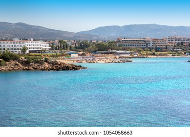 Beautiful view of a azzure water and Coral beach in Paphos, Cyprus.