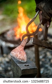 Beautiful view, background for reconstruction, horn, fire, anvil and hammer, forging cold arms to the blacksmith of the ancient people of the feudal system in nature on a sunny summer day.