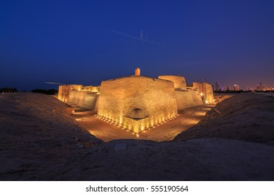 Beautiful view of Bahrain Fort at blue hour, a part of UNESCO World Heritage.