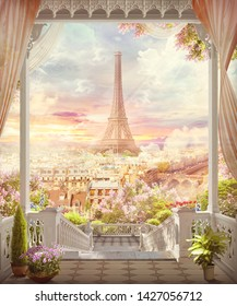 Beautiful view from the balcony and arch on the Paris. Digital collage and fresco.