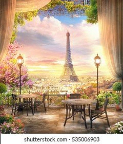 beautiful view from the balcony cafe on the Paris