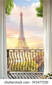beautiful view from the balcony on the Paris