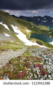 Beautiful view of Balea Valley in Fagaras Mountains, Carpathians, Romania
