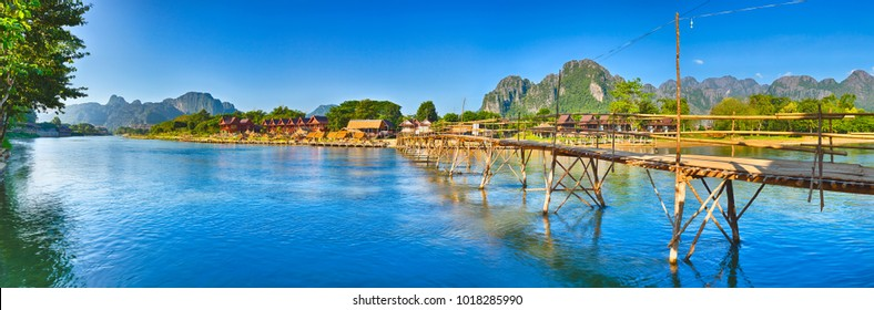 Beautiful view of a bamboo bridge.Vang Vieng. Laos landscape. High resolution Panorama