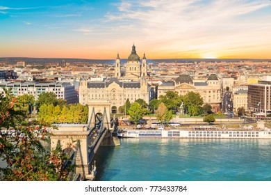 Beautiful view of the Basilica of Saint Istvan and the Szechenyi chain bridge across the Danube in Budapest, Hungary