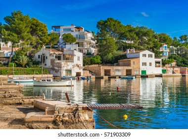 Beautiful view of the bay marina of Cala D'or, Majorca Spain, Balearic Islands.