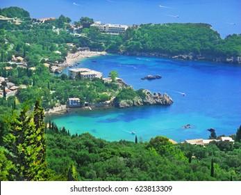 Beautiful view of the beach of Corfu Island. Ionian sea coastline. Bay at Corfu. Picturesque coast of Corfu island. Beautiful sea landscape.